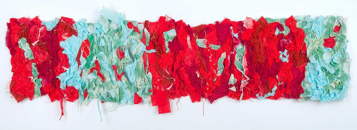 Arigato: Boro Boro Byobu 6 - Seafoam/Red © Susan Ball Faeder